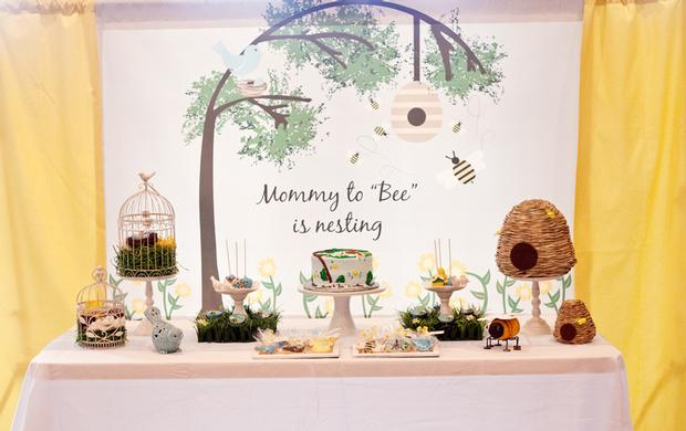 Life Begins with the Birds and the Bees Baby Shower via babyshowerideas4u mommy to bee is nesting backdrop