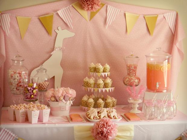 Pink Giraffe Baby Shower ideas, Dessert Table decoration ideas