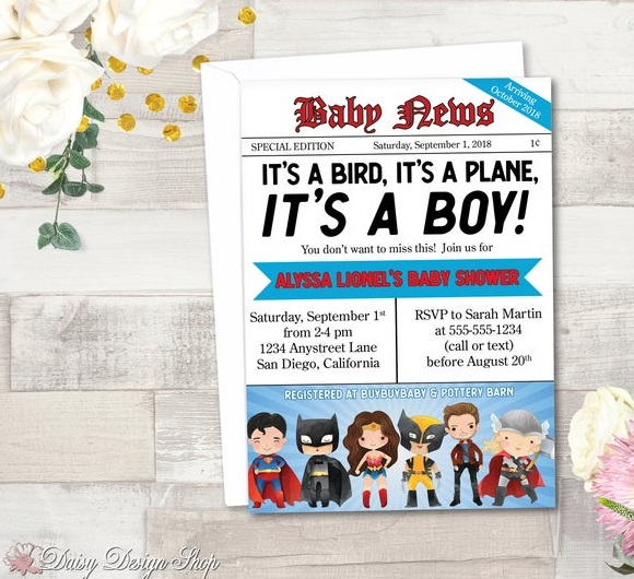 Newspaper Front Page Batman Baby Shower Invitation