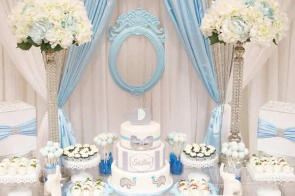 Blue And White Elephant Themed Baby Shower Baby Shower
