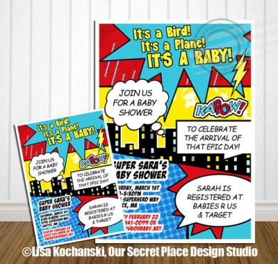 PRINTABLE Superhero Baby Shower Invitation Comic Baby Shower Announcement Super hero Baby Shower Superhero invitation Super hero