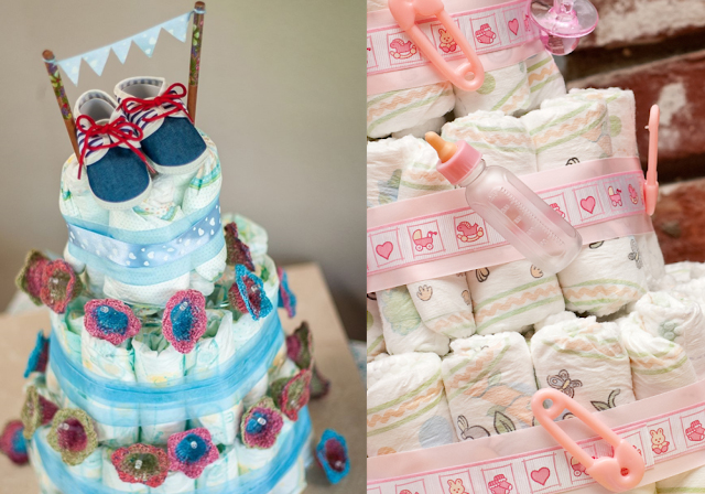 how to make a simple and fast diaper cake tutorial