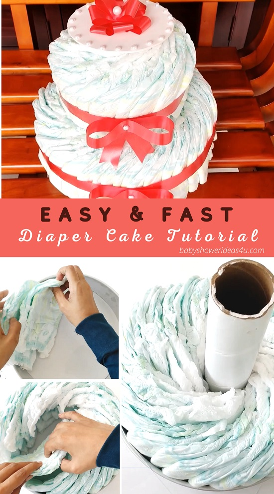 how to make easy and fast diaper cake tutorial