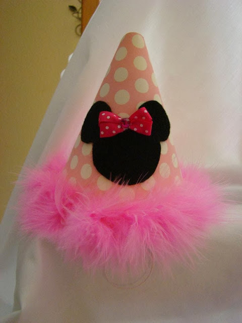 minnie mouse party hats pink and white polka dots