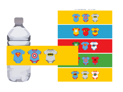 superhero baby shower water bottle labels