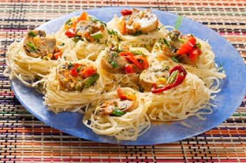 simple-baby-shower-food-ideas-roasted-vegetables-mushrooms-pasta