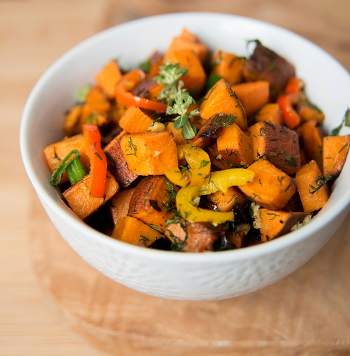 simple-baby-shower-food-ideas-sweet-potato-with-herbs-peppers-and-onions