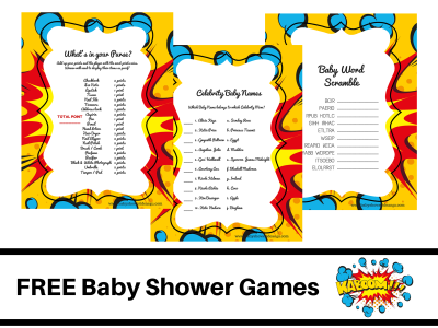 free-superhero-theme-baby-shower-FREE-PRINTABLE-BABY-SHOWER-GAMES-baby-word-scramble-baby-celebrity-whats-in-your-purse