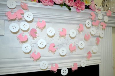 Baby Carriage and Buttons garland