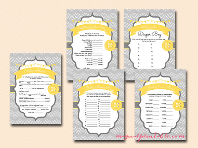 yellow gender neutral, cute as a button baby shower game pack, printable baby shower games, instant download, tlc81