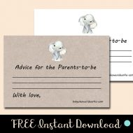 Free sweet elephant baby shower advice for parents card download