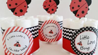 Ladybug Baby Shower Center Pieces, Mini Ladybug Diaper Cakes, Ladybug Diaper Cake, Ladybug Decor