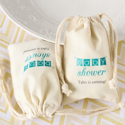 Natural Cotton Baby Shower Favor Bag teal