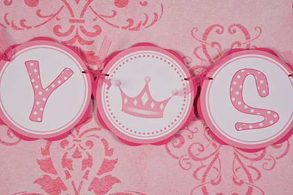 Princess Themed BABY SHOWER It's a Girl Banner, Princess Baby Shower Decorations in Hot Pink & Light Pink