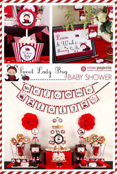 Red Sweet Lady Bug Baby Shower Package