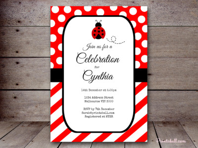 ladybug invitation, baby shower, mickey mouse invitation, minnie mouse