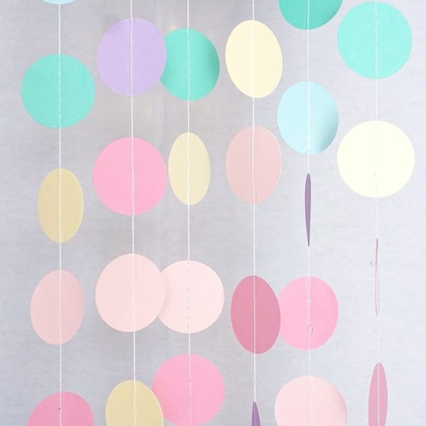 rainbow polka dot Garland Streamer Backdrop