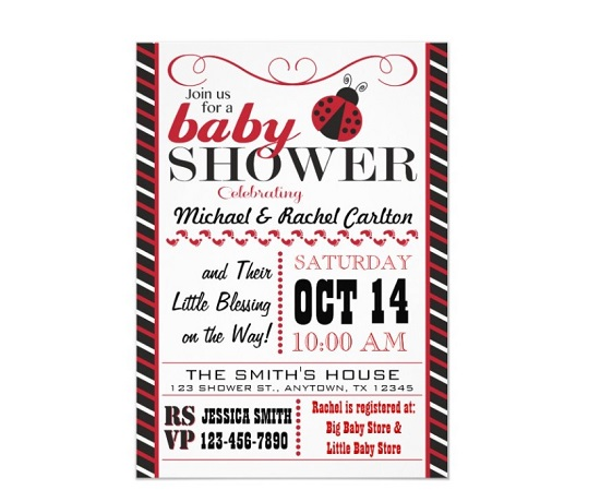 red and black Ladybug Themed Baby Shower invitation