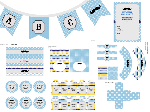 Little Man Party Pack by Printable by Magical Printable