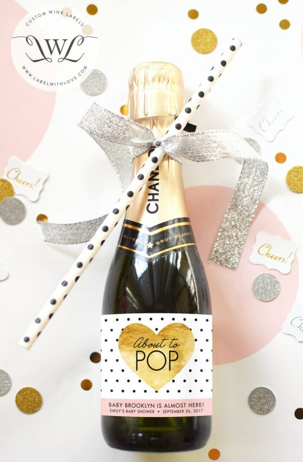 About to Pop Baby Shower Mini Champagne Bottle Labels