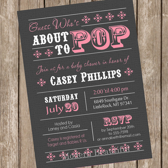 About to Pop Baby Shower Invitation, girl baby shower invitation, grey, pink