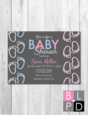 Baby Feet Baby Shower Invitation - Pink and Blue - Gender Reveal