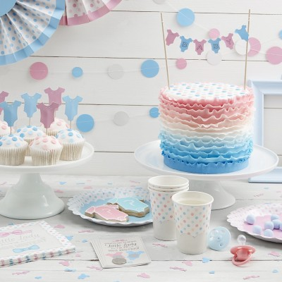 Blue & Pink Cake Bunting Decoration Topper - Little Lady or Mini Mister
