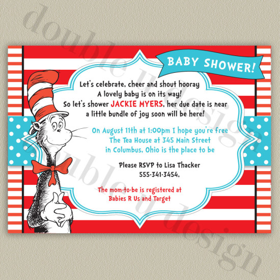 Cat in the Hat Dr. Seuss Baby Shower Invitatio