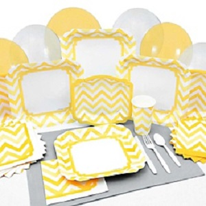 chevron-sunshine-yellow-baby-shower-tableware