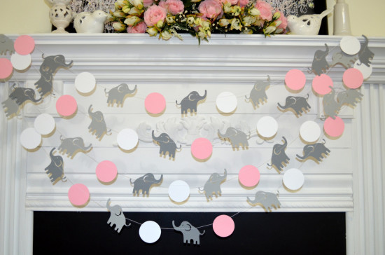 Elephant garland, Elephant baby shower decor