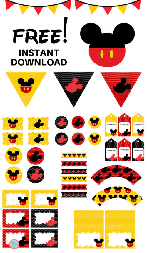 FREE Mickey Mouse baby shower Printables