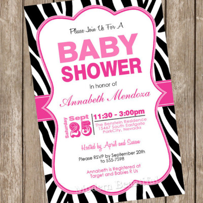 Girl Baby Shower Invitation Hot Pink and Black Zebra Baby Shower Invitation