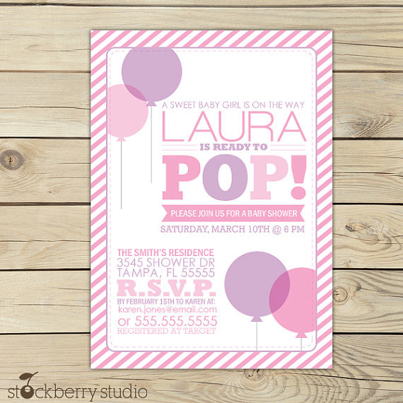 Girl Ready To Pop Invitation Printable - Pink Purple She's Ready to Pop Baby Shower Printable Invite