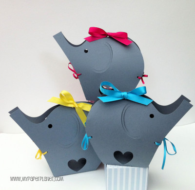 Gray Elephant Baby Shower gift boxes. Baby shower, gifts