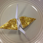 Gold Glittery Origami Crane Decorations