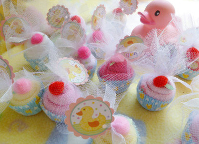 Just Ducky...Baby Shower Favors...Washcloth Cupcakes pink