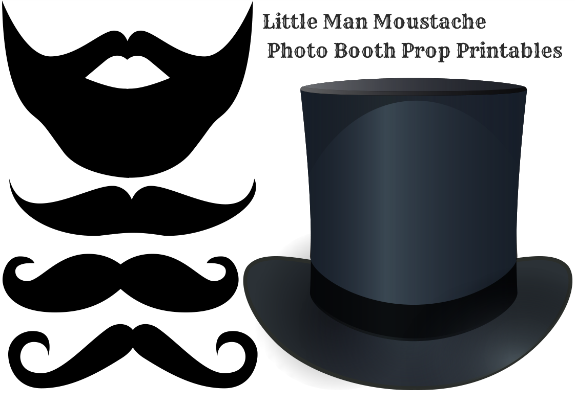 Free Little Man Moustache Photo Booth  printable