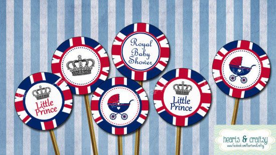 Little Prince Royal Baby Shower UK British Printable Cupcake Toppers - INSTANT DOWNLOAD