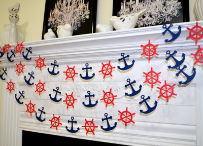 Nautical navy and red ship wheel and anchor garland