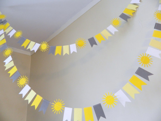 Paper Garland Yellow and Gray Mini Flag Garland You are My Sunshine
