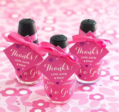 Personalized Diamond Shaped Nail Polish Baby Shower Favor Tags