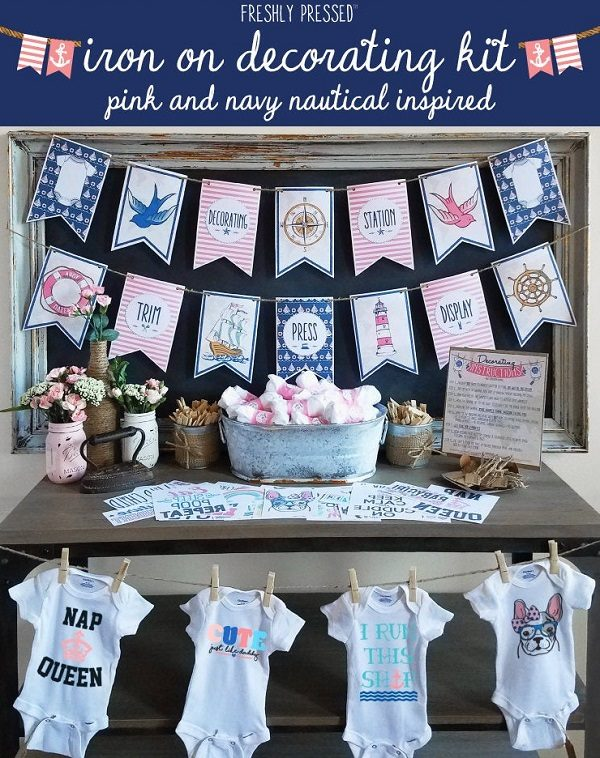 Pink Nautical Onesie Decorating Kit