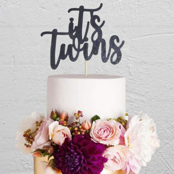 twins-cake-topper-black-glitter-for-baby-shower-party-decorations