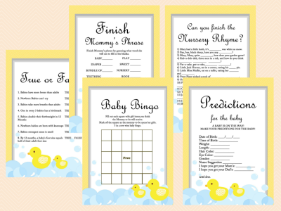 Yellow Rubber Duck Baby Shower Game Pack, Printables, Duck Theme, Rubber Duck Baby Shower Game Printables, Gender Neutral, Yellow, TLC35