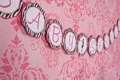 Zebra BABY SHOWER Banner, Hot Pink and Zebra Baby Shower Sign - Hot Pink & Black Party Decorations