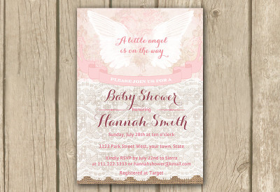 angel invite, angel invitation, baby shower