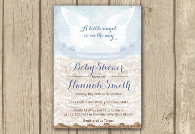 angel invite, angel invitation, baby shower for boys