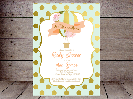 blue and gold hot air balloon editable invitation