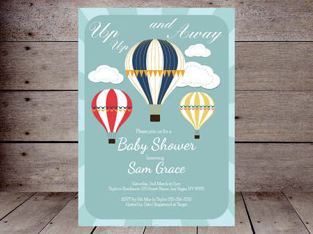 boy up up and away invitation editable