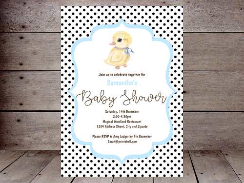 chic baby boy duck baby shower invitation editable
